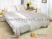 Лучший постельный комплект,  сатин белый в полоску
